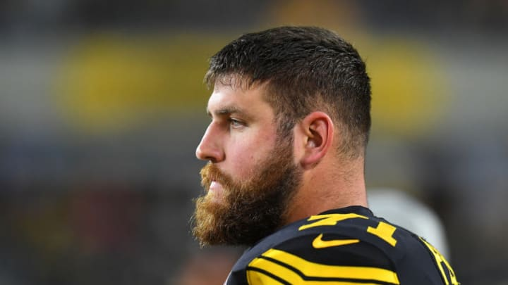 PITTSBURGH, PA - OCTOBER 28: Matt Feiler #71 of the Pittsburgh Steelers looks on during the game against the Miami Dolphins at Heinz Field on October 28, 2019 in Pittsburgh, Pennsylvania. (Photo by Joe Sargent/Getty Images)