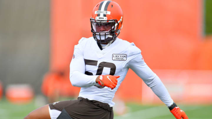 BEREA, OHIO - AUGUST 16: Jacob Phillips #50 of the Cleveland Browns works out during training camp on August 16, 2020 at the Cleveland Browns training facility in Berea, Ohio. (Photo by Jason Miller/Getty Images)