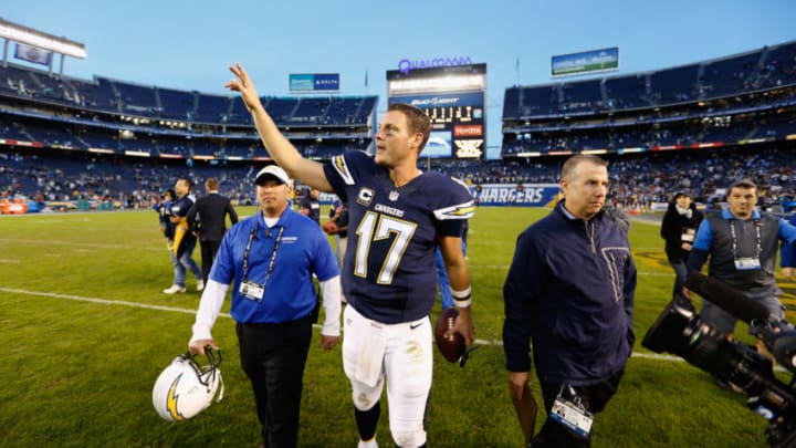 SAN DIEGO, CA - DECEMBER 20: Philip Rivers #17 of the San Diego Chargers waves to fans after the San Diego Chargers defeated the Miami Dolphins 30-14 at Qualcomm Stadium on December 20, 2015 in San Diego, California. (Photo by Sean M. Haffey/Getty Images)