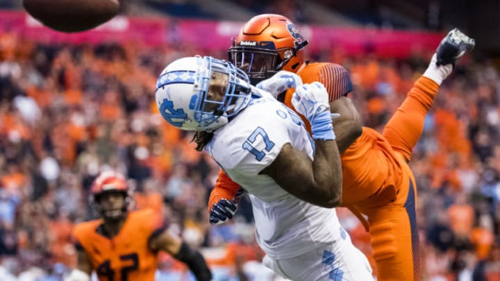 SYRACUSE, NY - OCTOBER 20: Anthony Ratliff-Williams #17 of the North Carolina Tar Heels watches helplessly after a pass intended for him is broken up by Ifeatu Melifonwu #23 of the Syracuse Orange during the fourth quarter at the Carrier Dome on October 20, 2018 in Syracuse, New York. Syracuse defeats North Carolina in overtime 40-37. (Photo by Brett Carlsen/Getty Images)