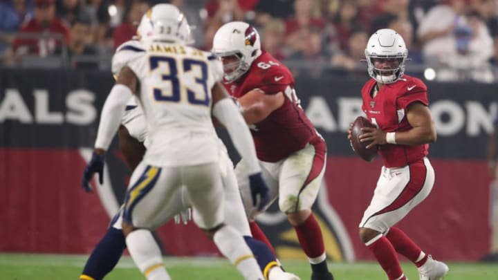GLENDALE, ARIZONA - AUGUST 08: Quarterback Kyler Murray #1 of the Arizona Cardinals drops back to pass during the NFL preseason game against the Los Angeles Chargers at State Farm Stadium on August 08, 2019 in Glendale, Arizona. The Cardinals defeated the Chargers 17-13. (Photo by Christian Petersen/Getty Images)