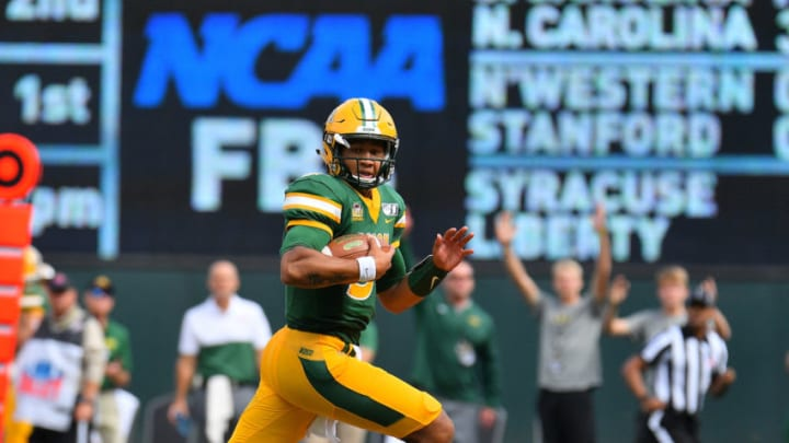 MINNEAPOLIS, MINNESOTA - AUGUST 31: Quarterback Trey Lance #5 of the North Dakota State Bison runs for a touchdown against the Butler Bulldogs during their game at Target Field on August 31, 2019 in Minneapolis, Minnesota. (Photo by Sam Wasson/Getty Images)