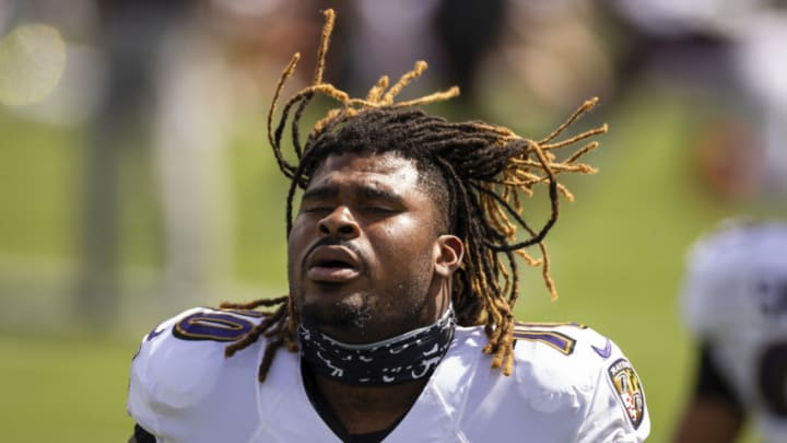BALTIMORE, MD - SEPTEMBER 13: D.J. Fluker #70 of the Baltimore Ravens warms up before the game against the Cleveland Browns at M&T Bank Stadium on September 13, 2020 in Baltimore, Maryland. (Photo by Scott Taetsch/Getty Images)