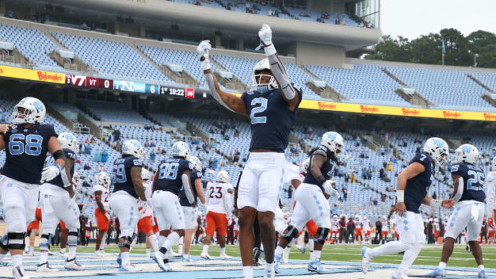 CHAPEL HILL, NC - OCTOBER 10: Dyami Brown #2 of North Carolina celebrates after a touchdown during a game between Virginia Tech and North Carolina at Kenan Memorial Stadium on October 10, 2020 in Chapel Hill, North Carolina. (Photo by Andy Mead/ISI Photos/Getty Images)