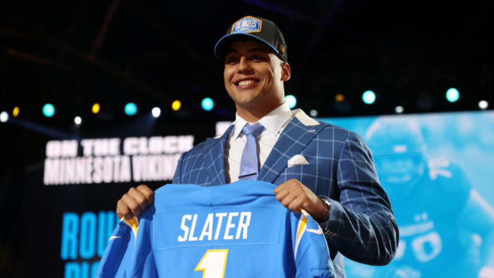 Rashawn Slater after being selected by the Los Angeles Chargers during the 2021 NFL Draft (Photo by Gregory Shamus/Getty Images)