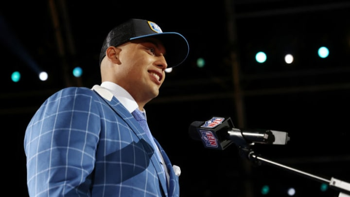 CLEVELAND, OHIO - APRIL 29: Rashawn Slater speaks onstage after being selected 13th by the Los Angeles Chargers during round one of the 2021 NFL Draft at the Great Lakes Science Center on April 29, 2021 in Cleveland, Ohio. (Photo by Gregory Shamus/Getty Images)