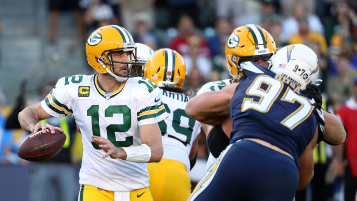 CARSON, CALIFORNIA - NOVEMBER 03: Aaron Rodgers #12 of the Green Bay Packers makes a pass during the second half of a game against the Los Angeles Chargers at Dignity Health Sports Park on November 03, 2019 in Carson, California. (Photo by Sean M. Haffey/Getty Images)