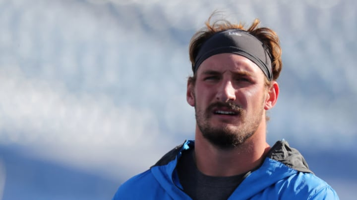 ORCHARD PARK, NY - NOVEMBER 29: Joey Bosa #97 of the Los Angeles Chargers during warmups before a game against the Buffalo Bills at Bills Stadium on November 29, 2020 in Orchard Park, New York. (Photo by Timothy T Ludwig/Getty Images)
