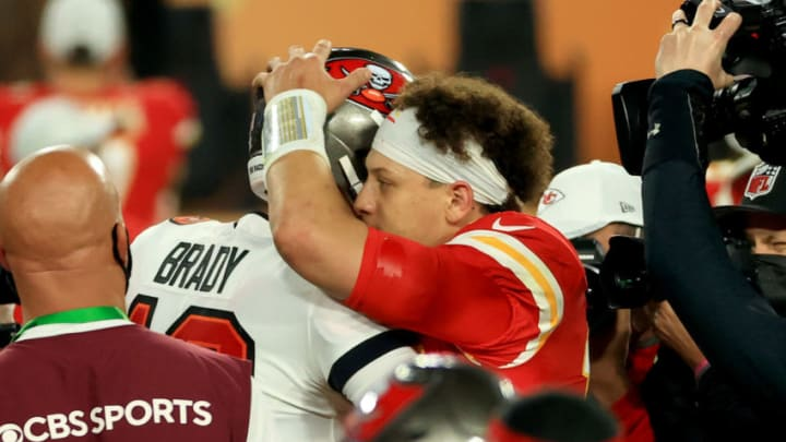 TAMPA, FLORIDA - FEBRUARY 07: Tom Brady #12 of the Tampa Bay Buccaneers and Patrick Mahomes #15 of the Kansas City Chiefs speak after Super Bowl LV at Raymond James Stadium on February 07, 2021 in Tampa, Florida. The Buccaneers defeated the Chiefs 31-9. (Photo by Mike Ehrmann/Getty Images)