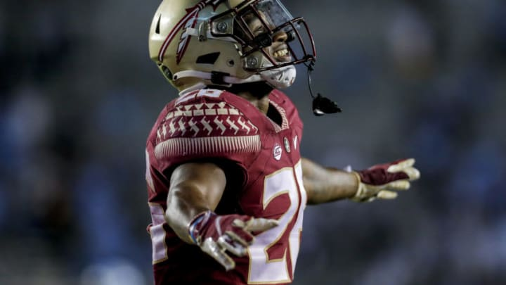 TALLAHASSEE, FL - OCTOBER 17: Cornerback Asante Samuel, Jr. #26 of the Florida State Seminoles during the game against the North Carolina Tar Heels at Doak Campbell Stadium on Bobby Bowden Field on October 17, 2020 in Tallahassee, Florida. The Seminoles defeated the Tar Heels 31 to 28. (Photo by Don Juan Moore/Getty Images)