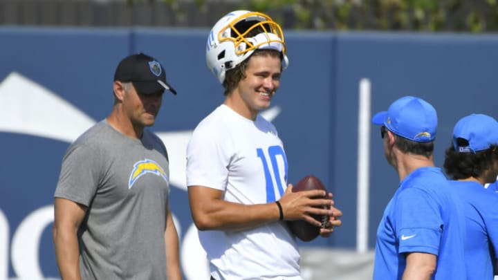 COSTA MESA, CA - JUNE 16: Justin Herbert #10 of the Los Angeles Chargers during mandatory minicamp at the Hoag Performance Center on June 16, 2021 in Costa Mesa, California. (Photo by John McCoy/Getty Images)