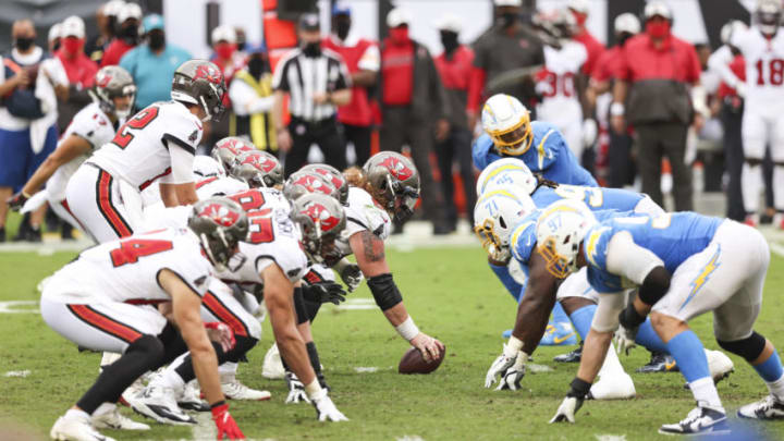 TAMPA, FLORIDA - OCTOBER 04: Tom Brady #12 of the Tampa Bay Buccaneers looks on during the fourth quarter of a game against the Los Angeles Chargers at Raymond James Stadium on October 04, 2020 in Tampa, Florida. (Photo by James Gilbert/Getty Images)