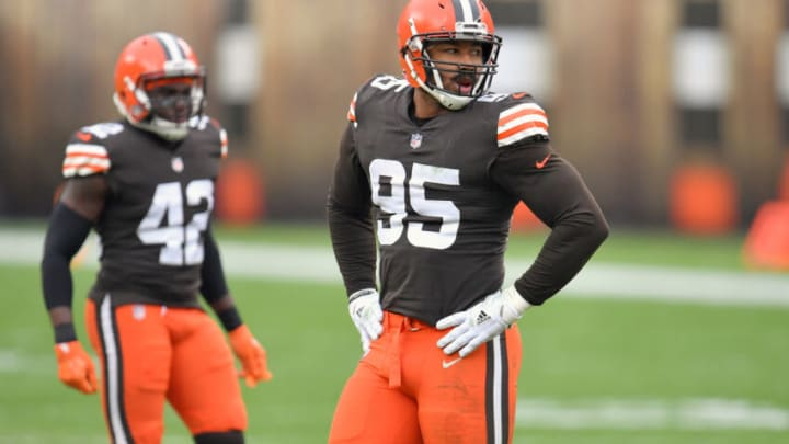 CLEVELAND, OHIO - JANUARY 03: Defensive end Myles Garrett #95 of the Cleveland Browns waits for the next play during the first half against the Pittsburgh Steelers at FirstEnergy Stadium on January 03, 2021 in Cleveland, Ohio. The Browns defeated the Steelers 24-22. (Photo by Jason Miller/Getty Images)