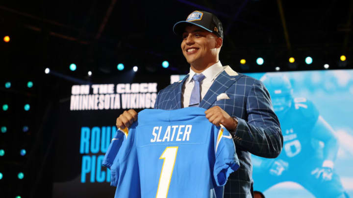 CLEVELAND, OHIO - APRIL 29: Rashawn Slater poses onstage after being selected 13th by the Los Angeles Chargers during round one of the 2021 NFL Draft at the Great Lakes Science Center on April 29, 2021 in Cleveland, Ohio. (Photo by Gregory Shamus/Getty Images)