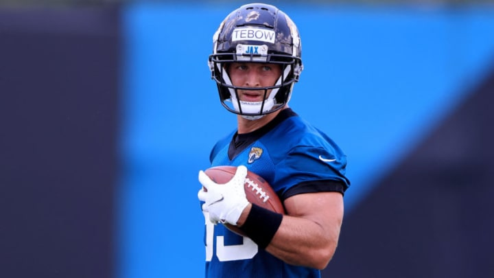 JACKSONVILLE, FLORIDA - MAY 27: Tim Tebow #85 of the Jacksonville Jaguars participates in drills during Jacksonville Jaguars Training Camp at TIAA Bank Field on May 27, 2021 in Jacksonville, Florida. (Photo by Sam Greenwood/Getty Images)