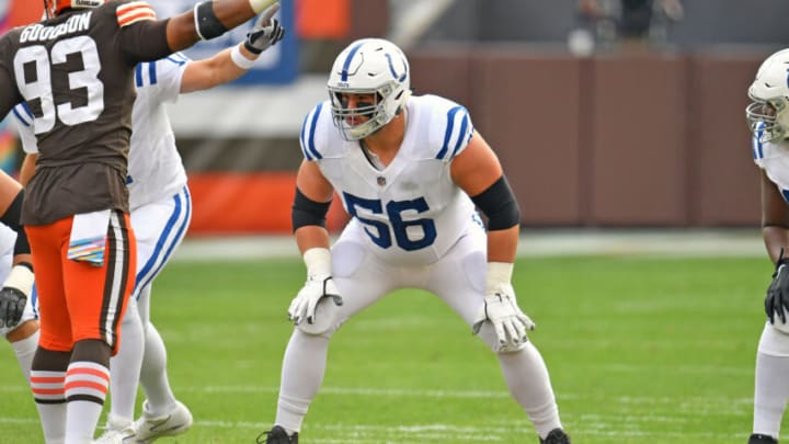 CLEVELAND, OHIO - OCTOBER 11: Offensive guard Quenton Nelson #56 of the Indianapolis Colts lines up against the Cleveland Browns during the first quarter at FirstEnergy Stadium on October 11, 2020 in Cleveland, Ohio. The Browns defeated the Colts 32-23. (Photo by Jason Miller/Getty Images)