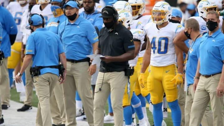 Los Angeles Chargers head coach Anthony Lynn watches the game against the Cincinnati Bengals in the fourth quarter during a Week 1 NFL football game, Sunday, Sept. 13, 2020, at Paul Brown Stadium in Cincinnati. The Cincinnati Bengals lost 16-13. Los Angeles Chargers At Cincinnati Bengals Sept 13
