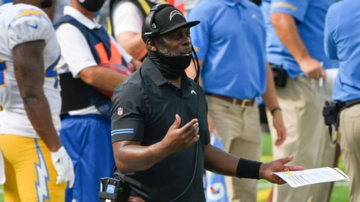 Sep 27, 2020; Inglewood, California, USA; Los Angeles Chargers head coach Anthony Lynn argues with a referee during the second quarter against the Carolina Panthers at SoFi Stadium. Mandatory Credit: Robert Hanashiro-USA TODAY Sports