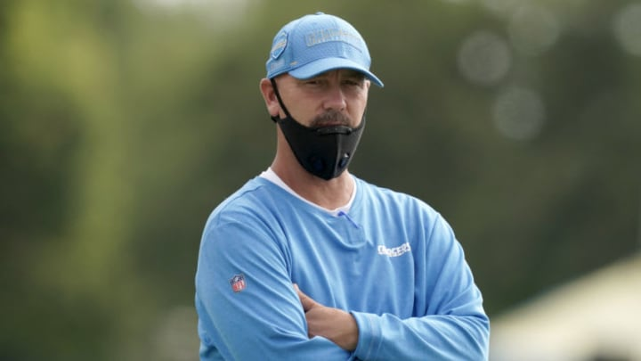 Aug 30, 2020; Los Angeles, California, United States; Los Angeles Chargers defensive coordinator Gus Bradley wears a face covering during training camp at the Jack Hammett Sports Complex. Mandatory Credit: Kirby Lee-USA TODAY Sports