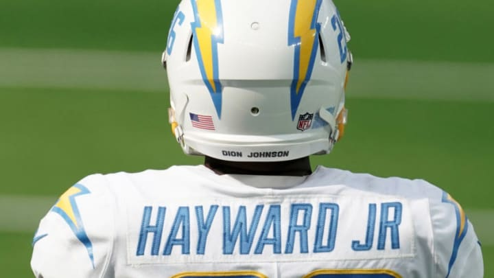 Sep 27, 2020; Inglewood, California, USA; Los Angeles Chargers cornerback Casey Hayward (26) wears the name of Dion Johnson on the back of his helmet against the Carolina Panthers at SoFi Stadium. The Panthers defeated the Chargers 21-16. Mandatory Credit: Kirby Lee-USA TODAY Sports