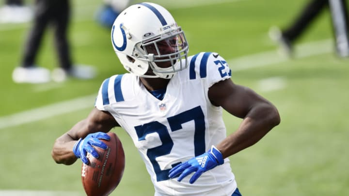 Oct 11, 2020; Cleveland, Ohio, USA; Indianapolis Colts cornerback Xavier Rhodes (27) warms up before the game between the Cleveland Browns and the Indianapolis Colts at FirstEnergy Stadium. Mandatory Credit: Ken Blaze-USA TODAY Sports