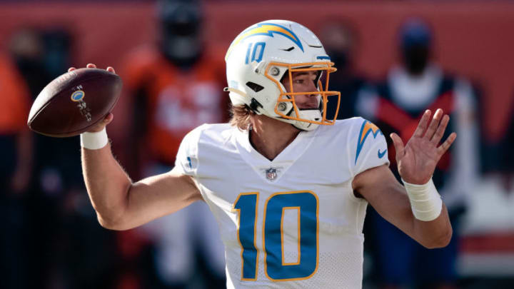 Nov 1, 2020; Denver, Colorado, USA; Los Angeles Chargers quarterback Justin Herbert (10) looks to pass in the first quarter against the Denver Broncos at Empower Field at Mile High. Mandatory Credit: Isaiah J. Downing-USA TODAY Sports