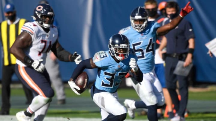 Tennessee Titans free safety Desmond King (33) recovers a Chicago Bears fumble and runs in a touchdown during the third quarter at Nissan Stadium Sunday, Nov. 8, 2020 in Nashville, Tenn. Aab3948