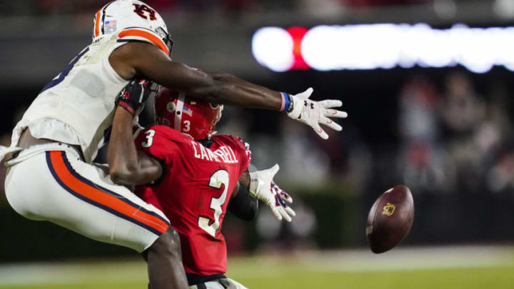 Oct 3, 2020; Athens, Georgia, USA; Georgia Bulldogs defensive back Tyson Campbell (3) is called for pass interference on Auburn Tigers wide receiver Seth Williams (18) during the first half at Sanford Stadium. Mandatory Credit: Dale Zanine-USA TODAY Sports