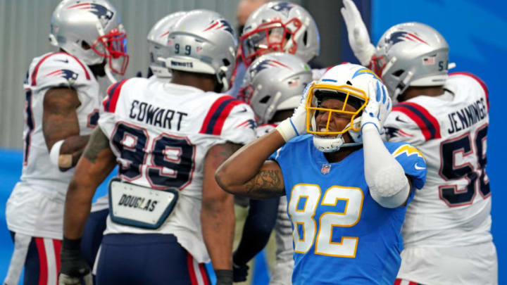 Dec 6, 2020; Inglewood, California, USA; Los Angeles Chargers tight end Stephen Anderson (82) reacts during the second half against the New England Patriots at SoFi Stadium. Mandatory Credit: Kirby Lee-USA TODAY Sports