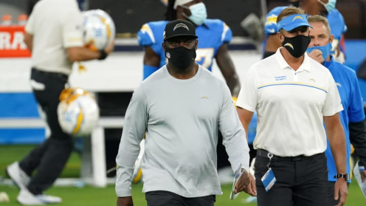 Dec 6, 2020; Inglewood, California, USA; Los Angeles Chargers head coach Anthony Lynn walks off the field after the game against the New England Patriots at SoFi Stadium. Mandatory Credit: Kirby Lee-USA TODAY Sports