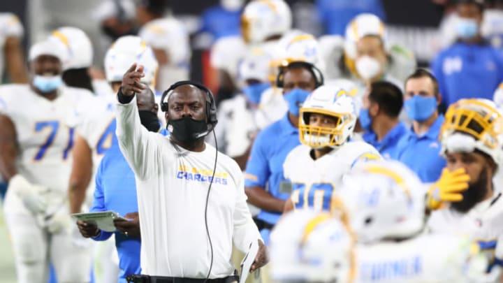 Dec 17, 2020; Paradise, Nevada, USA; Los Angeles Chargers head coach Anthony Lynn against the Las Vegas Raiders at Allegiant Stadium. Mandatory Credit: Mark J. Rebilas-USA TODAY Sports