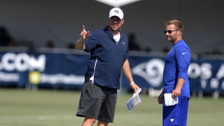 Jul 30, 2019; Irvine, CA, USA; Los Angeles Rams quarterbacks coach Shane Waldron (left) and coach Sean McVay during training camp at UC Irvine. Mandatory Credit: Kirby Lee-USA TODAY Sports