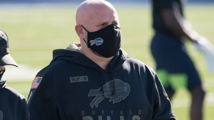 Nov 8, 2020; Orchard Park, New York, USA; Buffalo Bills offensive coordinator Brian Daboll walks the field prior to a game against the Seattle Seahawks at Bills Stadium. Mandatory Credit: Mark Konezny-USA TODAY Sports