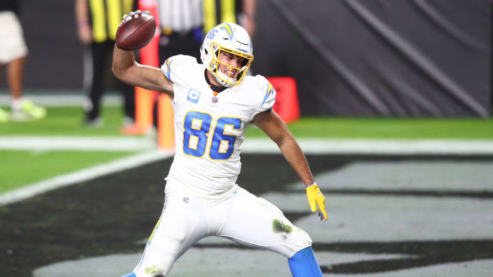 Dec 17, 2020; Paradise, Nevada, USA; Los Angeles Chargers tight end Hunter Henry (86) celebrates his touchdowns scored against the Las Vegas Raiders during the first half at Allegiant Stadium. Mandatory Credit: Mark J. Rebilas-USA TODAY Sports