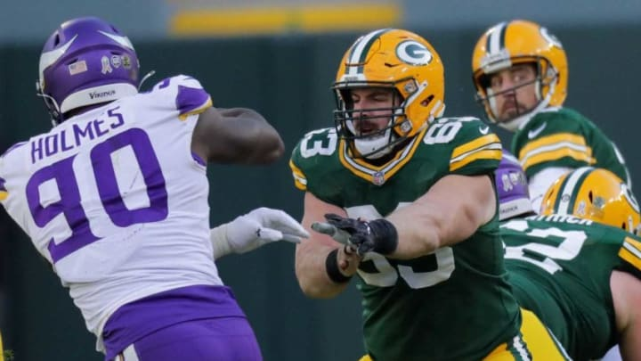 Corey Linsley is scheduled to enter free agency next spring and the Packers might not have enough room under the salary cap to sign the center. Mark Hoffman / Milwaukee Journal Sentinel Packers center Corey Linsley (63) provides pass protection while blocking Minnesota Vikings defensive end Jalyn Holmes (90) during the fourth quarter of their Nov. 1, 2020 game at Lambeau Field. Packers02 44