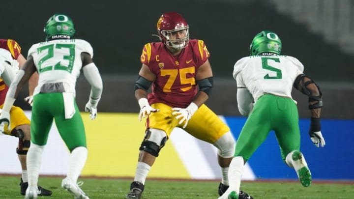 Dec 18, 2020; Los Angeles, California, USA; Southern California Trojans offensive lineman Alijah Vera-Tucker (75) during the Pac-12 Championship against the Oregon Ducks at United Airlines Field at Los Angeles Memorial Coliseum. Oregon defeated USC 31-24. Mandatory Credit: Kirby Lee-USA TODAY Sports