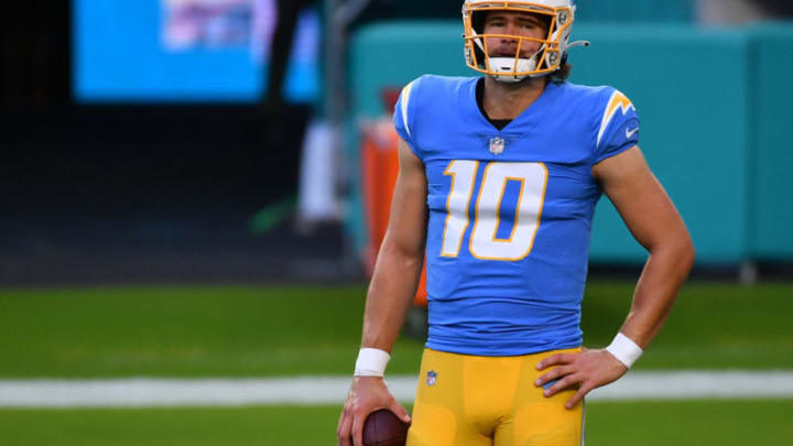 Nov 15, 2020; Miami Gardens, Florida, USA; Los Angeles Chargers quarterback Justin Herbert (10) looks on prior to the game against the Miami Dolphins at Hard Rock Stadium. Mandatory Credit: Jasen Vinlove-USA TODAY Sports