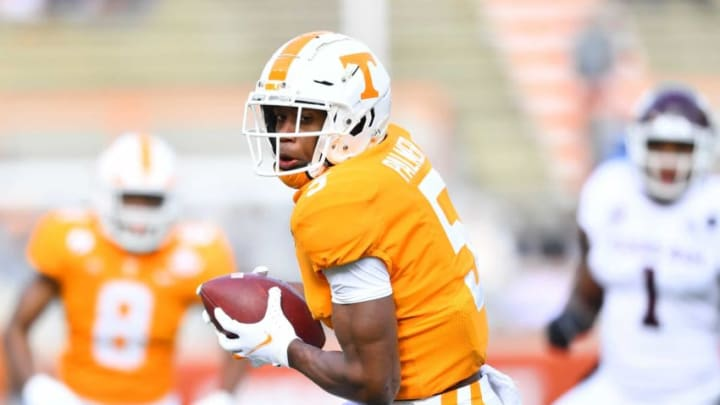 Tennessee wide receiver Josh Palmer (5) runs the ball during a game between Tennessee and Texas A&M in Neyland Stadium in Knoxville, Saturday, Dec. 19, 2020.