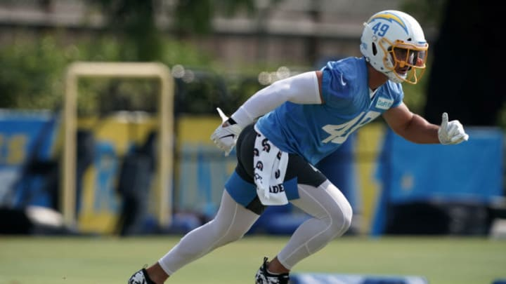 Aug 19, 2020; Costa Mesa, California, USA; Los Angeles Chargers linebacker Drue Tranquill (49) during training camp at the Jack Hammett Sports Complex. Mandatory Credit: Kirby Lee-USA TODAY Sports