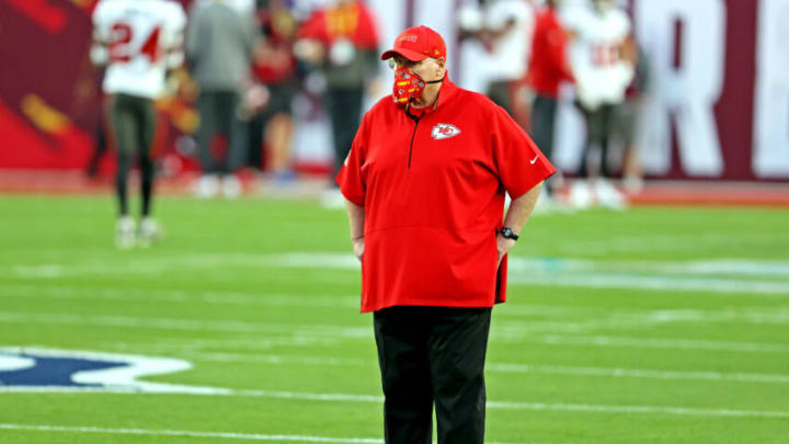 Feb 4, 2020; Tampa, FL, USA; Kansas City Chiefs head coach Andy Reid before coaching against the Tampa Bay Buccaneers in Super Bowl LV at Raymond James Stadium. Mandatory Credit: Matthew Emmons-USA TODAY Sports