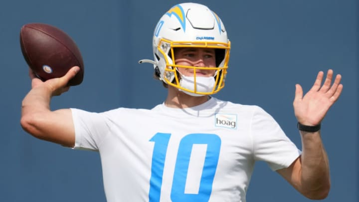 Jun 15, 2021; Costa Mesa, CA, USA; Los Angeles Chargers quarterback Justin Herbert (10) throws the ball during minicamp at the Hoag Performance Center. Mandatory Credit: Kirby Lee-USA TODAY Sports