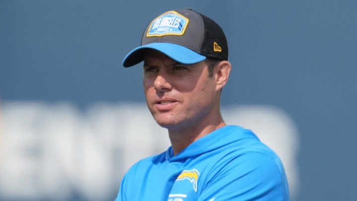 Jun 15, 2021; Costa Mesa, CA, USA; Los Angeles Chargers coach Brandon Staley during minicamp at the Hoag Performance Center. Mandatory Credit: Kirby Lee-USA TODAY Sports