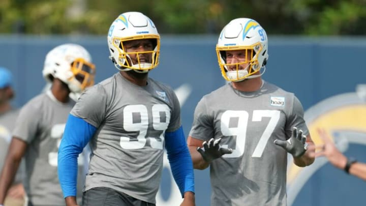 Jun 15, 2021; Costa Mesa, CA, USA; Los Angeles Chargers defensive tackle Jerry Tillery (99) and defensive end Joey Bosa (99) during minicamp at the Hoag Performance Center. Mandatory Credit: Kirby Lee-USA TODAY Sports