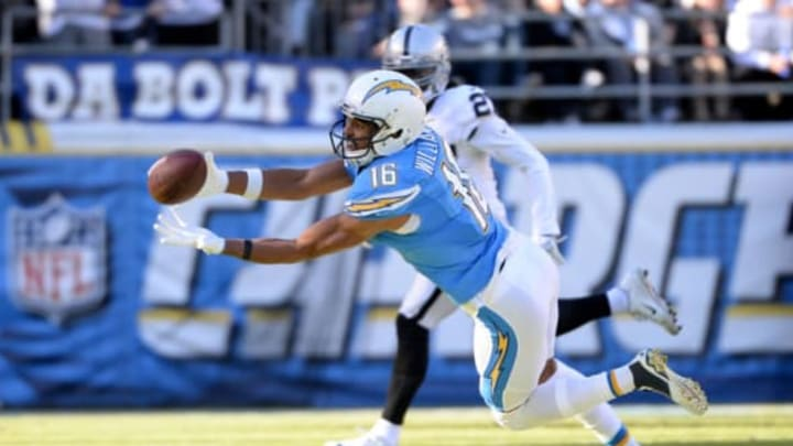 Dec 18, 2016; San Diego, CA, USA; San Diego Chargers wide receiver Tyrell Williams (16) dives for a ball out of his reach during the second quarter of the game against the Oakland Raiders at Qualcomm Stadium. Mandatory Credit: Orlando Ramirez-USA TODAY Sports
