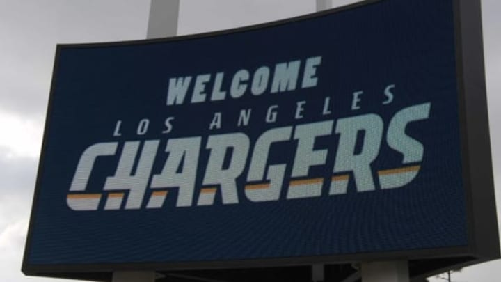 """Jan 18, 2017; Inglewood, CA, USA; General overall view of a """"Welcome Los Angeles Chargers"""" sign on the marquee outside of The Forum during prior to the Los Angeles Chargers Kickoff Ceremony. Mandatory Credit: Kirby Lee-USA TODAY Sports"""