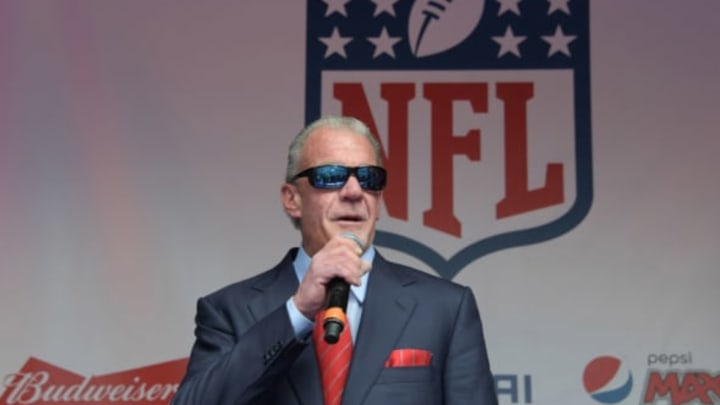 Oct 1, 2016; London, United Kingdom; Indianapolis Colts owner Jim Irsay on the main stage during NFL on Regent Street prior to the International Series game against the Jacksonville Jaguars. Mandatory Credit: Kirby Lee-USA TODAY Sports