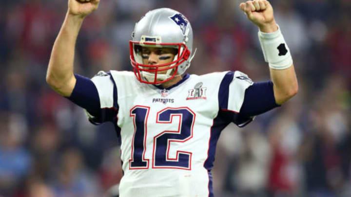 Feb 5, 2017; Houston, TX, USA; New England Patriots quarterback Tom Brady (12) celebrates a two-point conversion against the Atlanta Falcons in the fourth quarter during Super Bowl LI at NRG Stadium. Mandatory Credit: Mark J. Rebilas-USA TODAY Sports