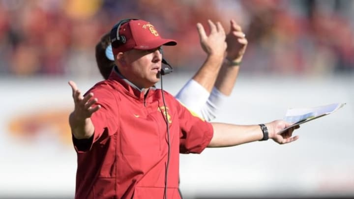 Nov 28, 2015; Los Angeles, CA, USA; Southern California Trojans head coach Clay Helton reacts during an NCAA football game against the UCLA Bruins at Los Angeles Memorial Coliseum. Mandatory Credit: Kirby Lee-USA TODAY Sports