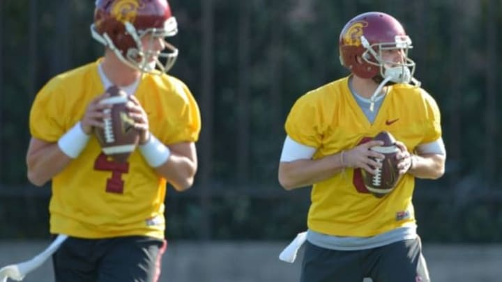 Mar 3, 2015; Los Angeles, CA, USA; Southern California Trojans quarterbacks Cody Kessler (6) and Max Browne (4) at spring practice at Cromwell Field. Mandatory Credit: Kirby Lee-USA TODAY Sports