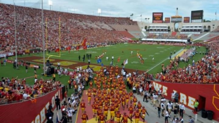 Sep 12, 2015; Los Angeles, CA, USA; Southern California Trojans players enter the field before the game against the Idaho Vandals at Los Angeles Memorial Coliseum. Mandatory Credit: Kirby Lee-USA TODAY Sports